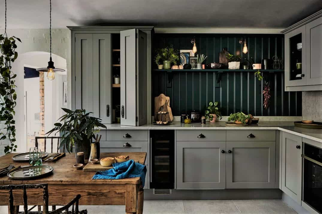 Grey Shaker Kitchen accent wall John Lewis of Hungerford