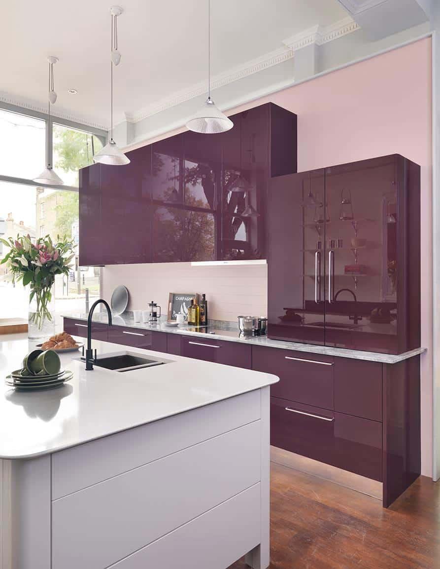 Purple modern kitchen John Lewis of Hungerford