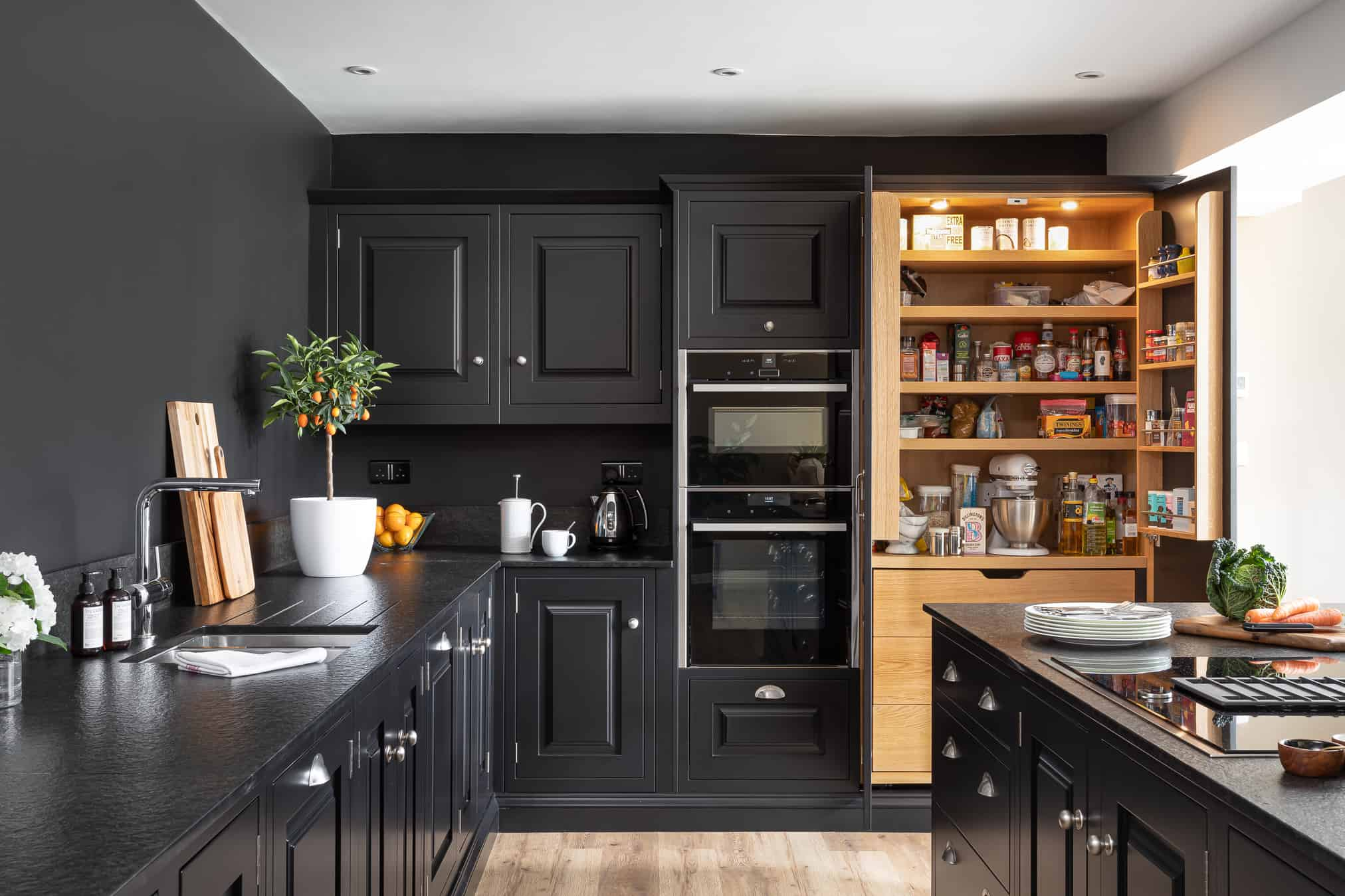 Black artisan kitchen with larder John Lewis of Hungerford