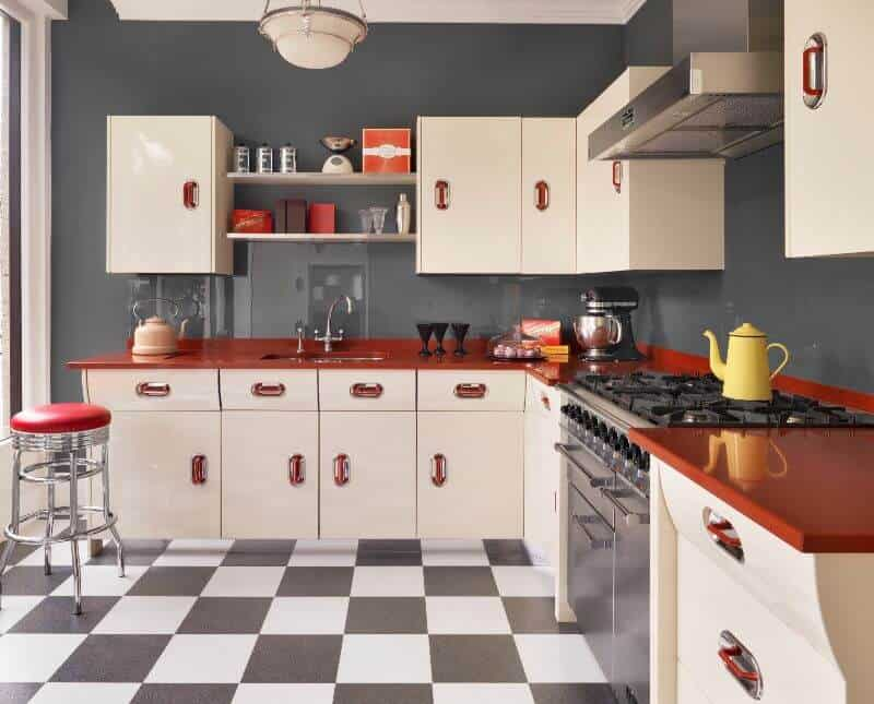 Red and white retro kitchen John Lewis of Hungerford