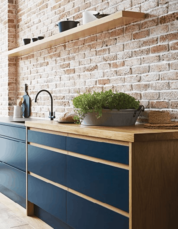 Blue Handleless kitchen with a plant John Lewis of Hungerford