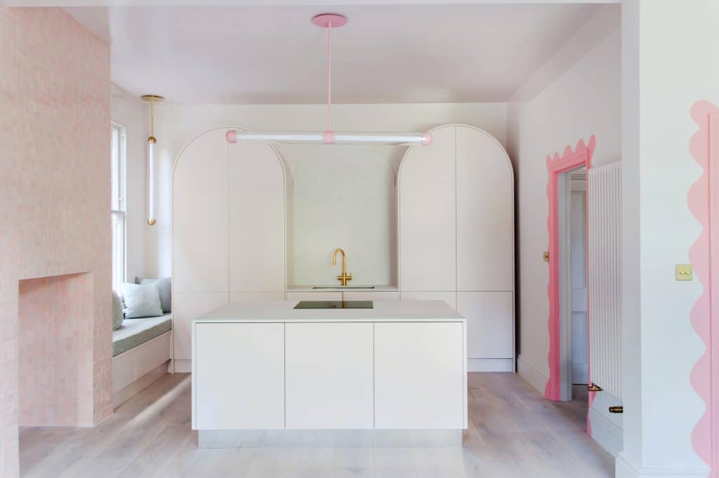 Curved kitchen cabinets