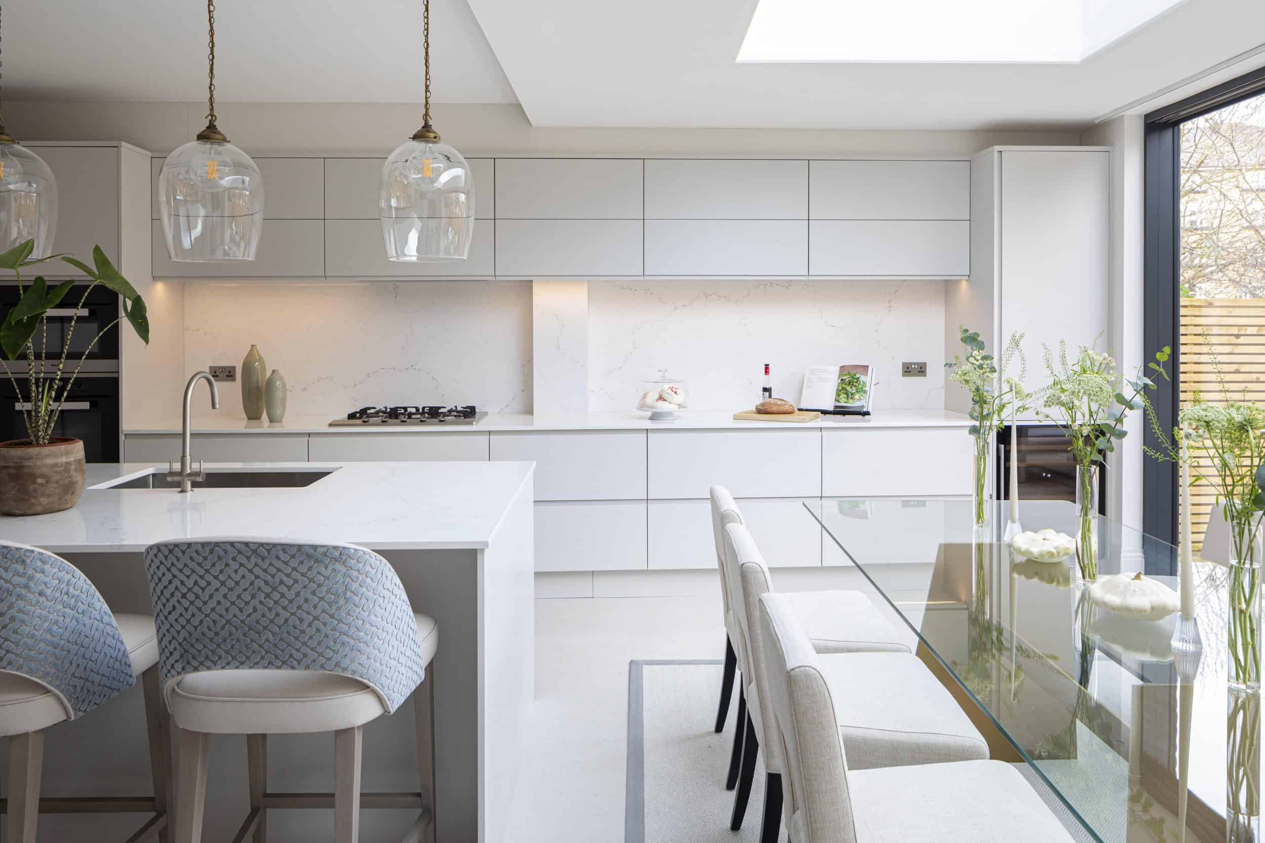 pure handleless kitchen John Lewis of Hungerford