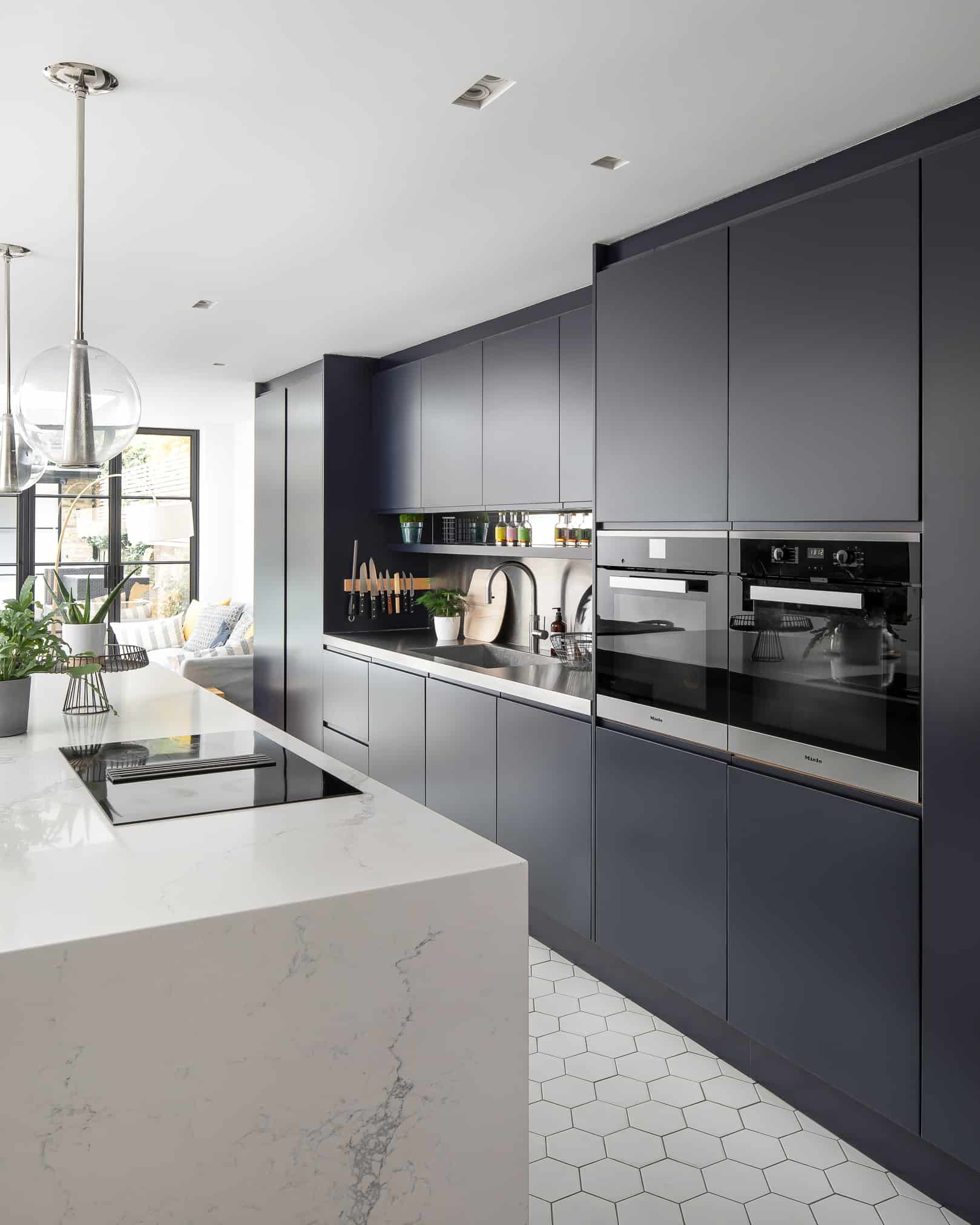 Handleless industrial style kitchen